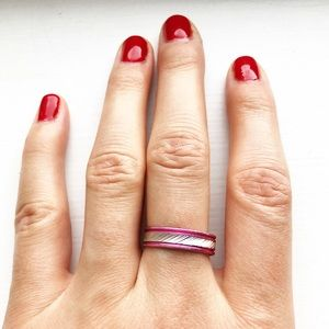 Vintage pink & silver tin band ring